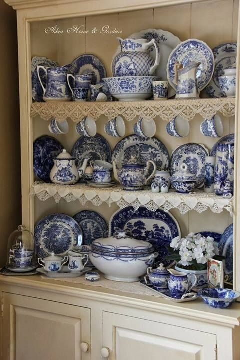 Dresser filled with Collection of Blue & White Porcerlain