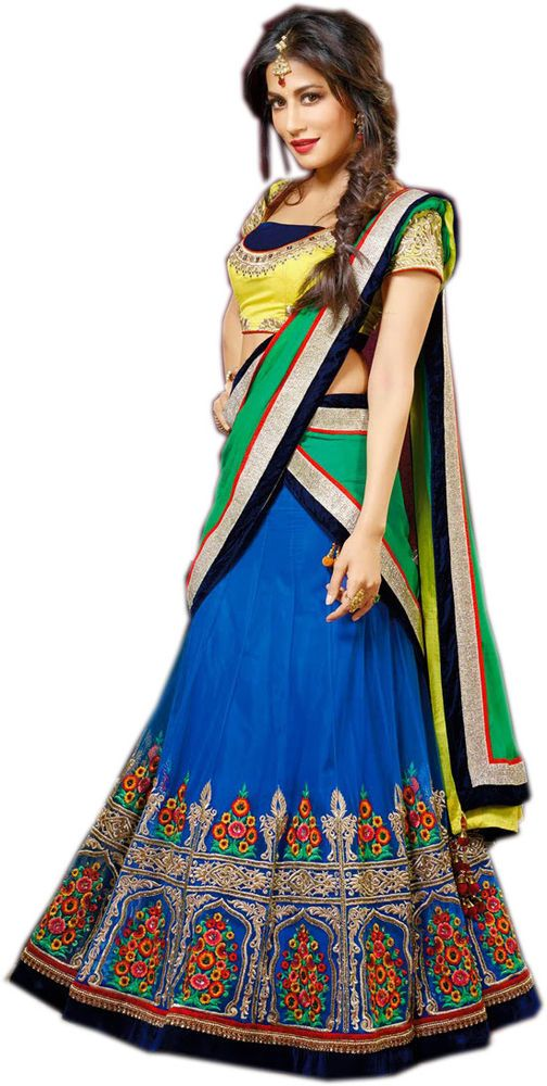 Blue Wedding Wear Zardosi Resham Hand Work Silk Blouse Net Lehenga Choli #SareeStudio #DesignerLehengaCholi #WeddingWear