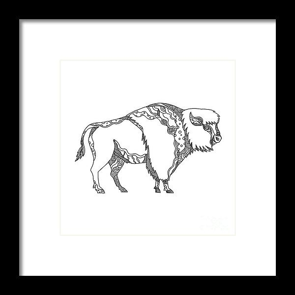 Doodle Framed Print featuring the digital art American Buffalo Doodle Art by Aloysius Patrimonio