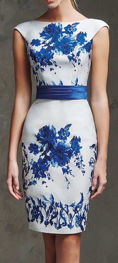 Laira Mikado Silk and Jacquard Cocktail Dress. / Pronovias