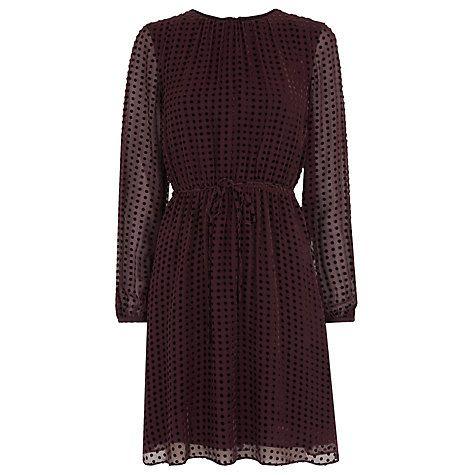 Buy Whistles Velvet Spot Flippy Dress, Fig Online at johnlewis.com