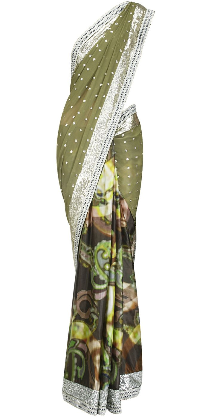 Olive green patched sari with sequin embroidered border by OHAILA KHAN. Shop at https://www.perniaspopupshop.com/whats-new/ohaila-khan-5214