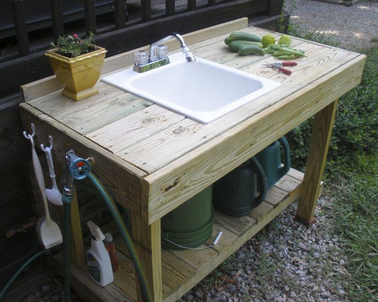 potting bench with sink | New Potting Bench, Fried Okra Recipe