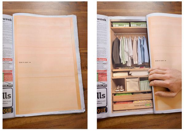 Innovative IKEA add.  It's clearly not just their product range that is quirky & clever.  This printed advert would have gained the interest of it's readers. #marketing #print #advertising