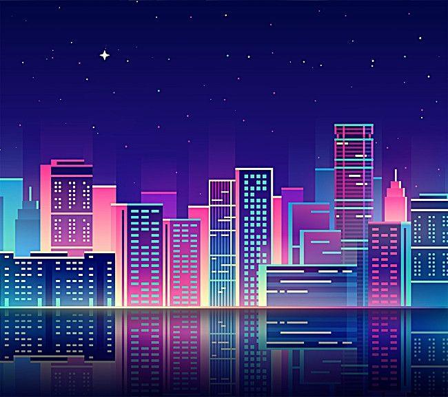 Background Screen City Modern Background City Illustration City Backdrop Night City