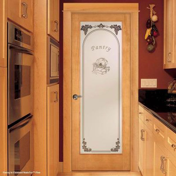 Dress up your pantry with a cool feather river etched - Decorative glass interior pantry doors ...