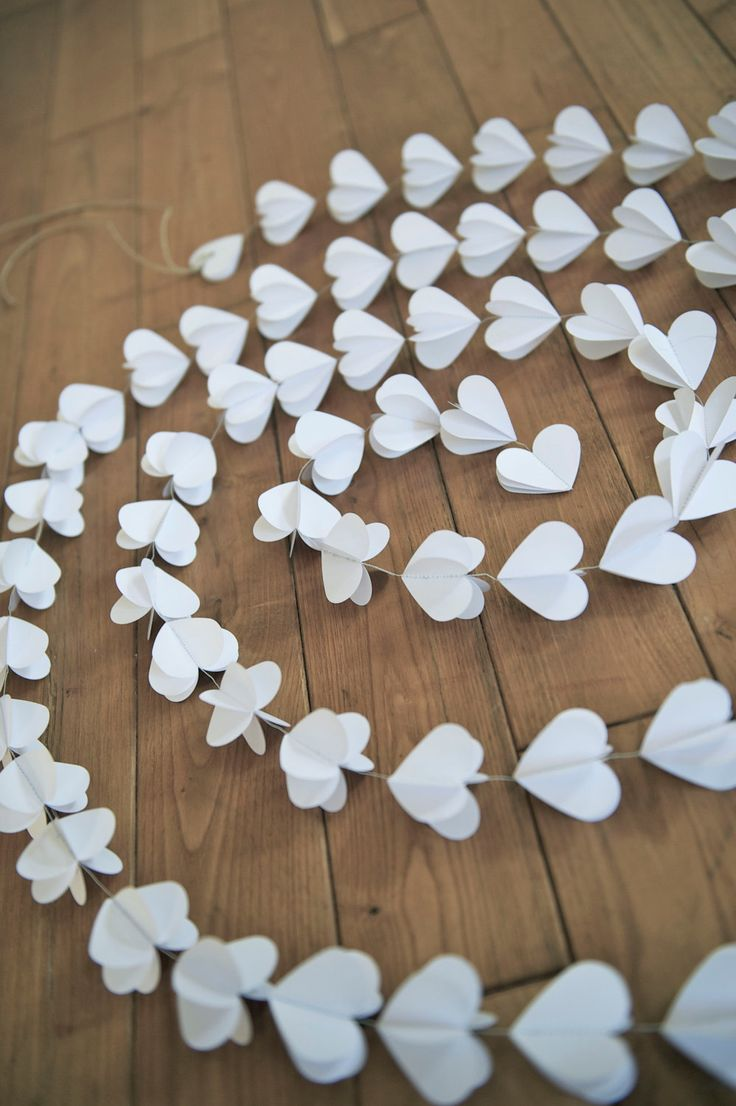 Paper hearts garlands, WHITE HEARTS, paper garland, heart garland, wedding garland, bridal shower, 10 FEET garland. $22.00, via Etsy.