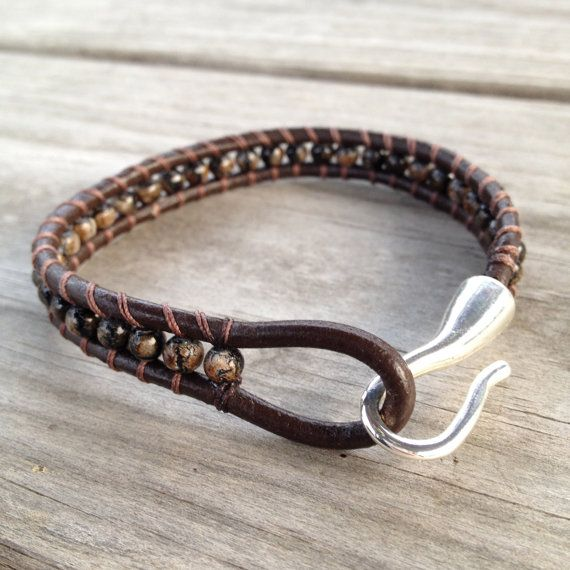 Men's Brown Beaded Leather Wrap Bracelet on Etsy, $23.00