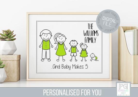 Personalised New Baby Family Wall Art Etsy Family Wall Art Personalized Family Wall Art Etsy Wall Art