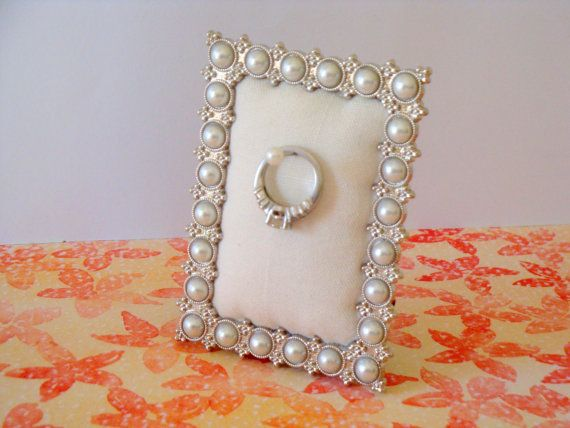 Wedding ring holder rectangle faux pearl & silver frame: engagement ring holder, bridal shower gift, for her, ring stand