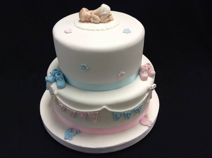 Gender Reveal Baby Shower Cake decorated by Coast Cakes Ltd