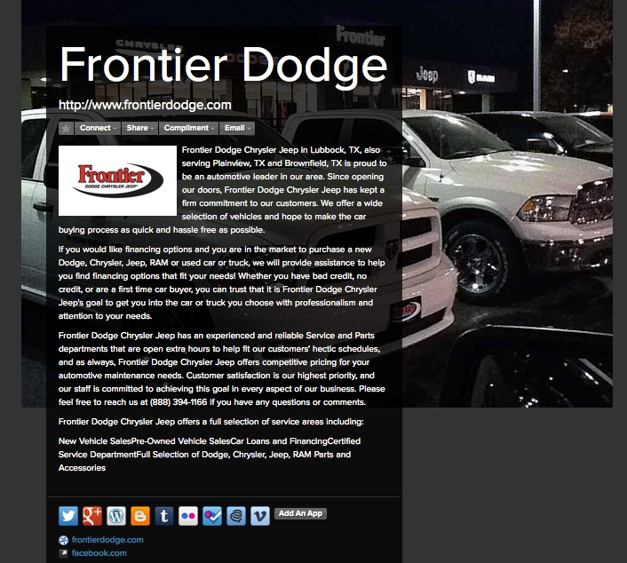 Check Out Our About Me Page Http About Me Frontierdodge Car Buying Dodge Chrysler Chrysler Jeep