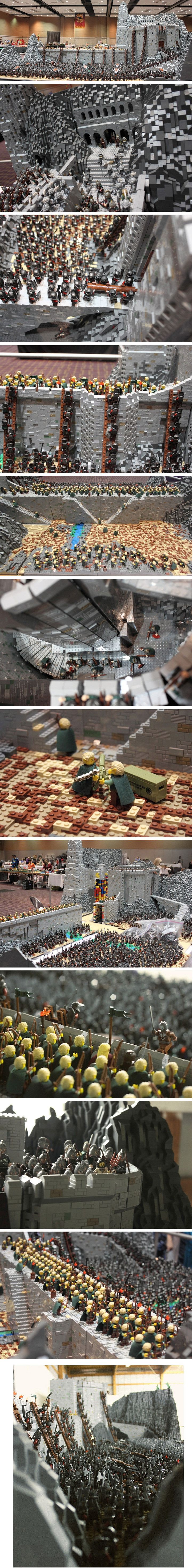 We've all seen some incredible LEGO builds before, but this one, by Rich-K & Big J, takes the cake as one of the most impressive pop culture recreations of all time! About 150,000 LEGO bricks and 1,700 mini-figures were used to recreate the Helm's Deep battle scene from Peter Jackson's The Lord of the Rings. It took the duo about four months to construct the 160 pound, ping-pong table size creation.