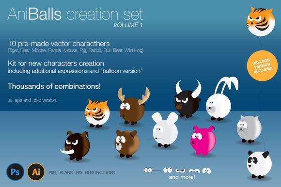 My AniBalls, Character Creation Set moved to #CreativeMarket
