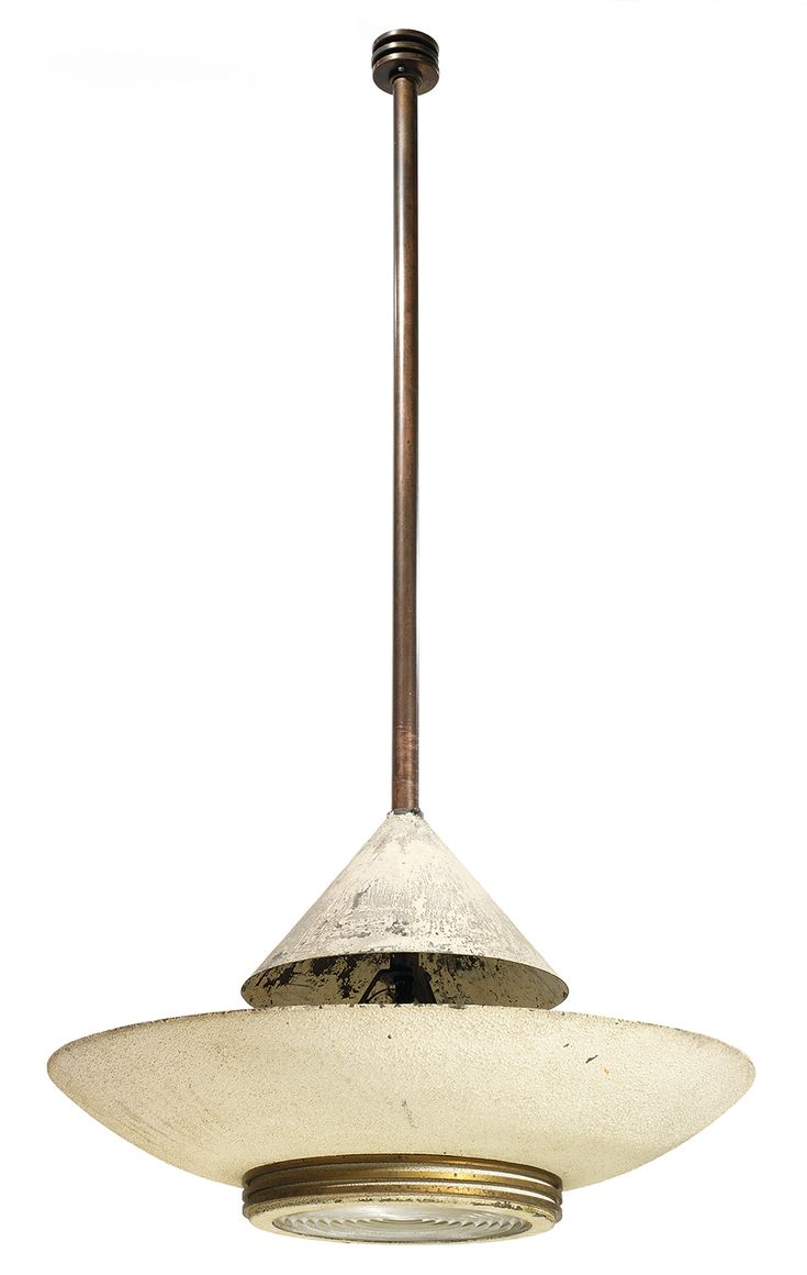 Jean PERZEL (1898-1986)   A large modernist ceiling light, 1937, with sheets metal lampshade and bowl, brass stem and fittings, glass lens. Height. 46 1/2 in. lenslens - Diam. 23 5/8 in.     2,000 EUR - 3,000 EUR  / N.S