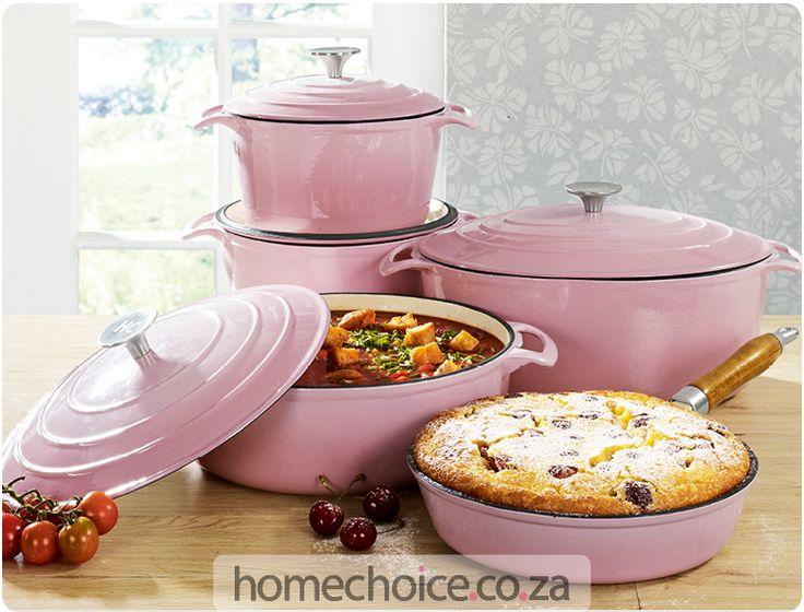 Premier pink cast iron cookware http://www.homechoice.co.za/Kitchen/cast-iron-cookware/Premier.aspx