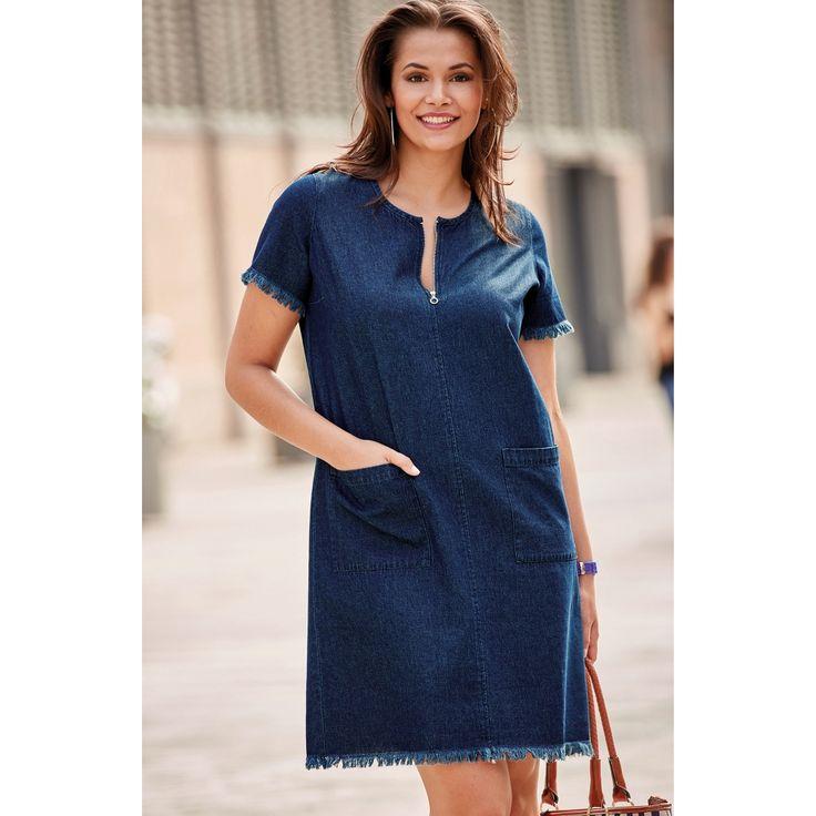Robe en jean col zippé et finitions à cru. Collection Mode Blancheporte PE17. Du 40 au 58.