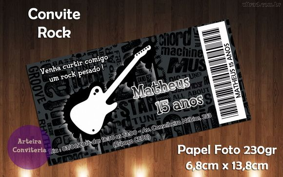 Convite ingresso rock