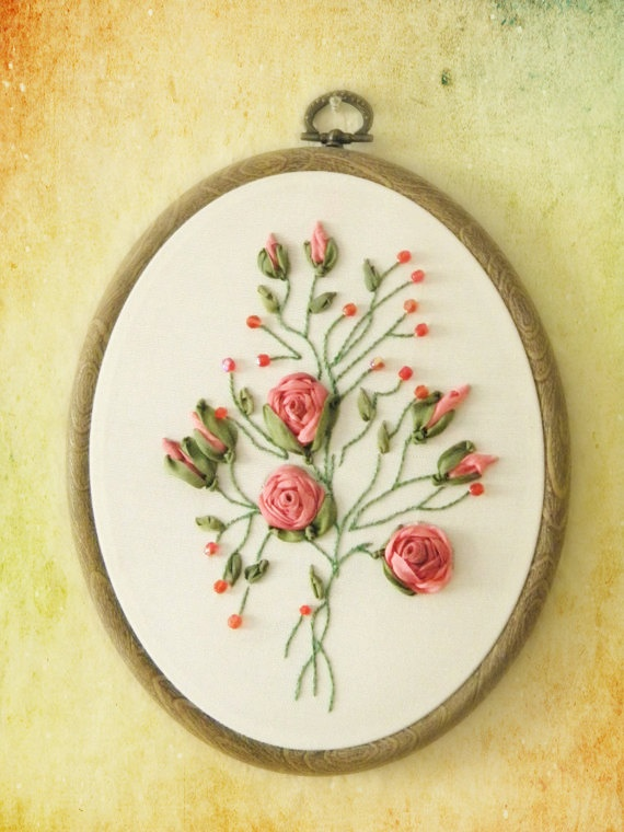 Hand embroidery salmon roses wall hanging with beads