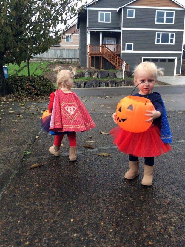 DIY toddler superhero costumes for Halloween.