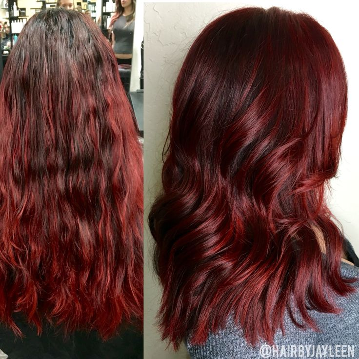 Red hair, red highlights, red lob, vibrant red hair, hairstyles, dark red hair, cherry hair, haircut, before and after