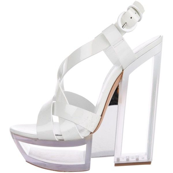 Pre-owned Casadei Leather Sculptural Sandals ($145) ❤ liked on Polyvore featuring shoes, sandals, white, leather platform sandals, platform shoes, white strappy sandals, leather strap sandals and white leather shoes