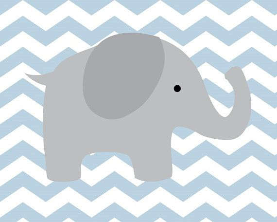 Baby Boy Nursery Art Chevron Elephant Nursery by SweetLittleBarn