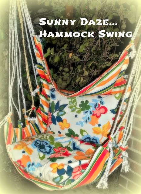 DIY:  Hammock Swing Tutorial - great info!  Easy tutorial - the swing is a rectangle of fabric, with rope attached.