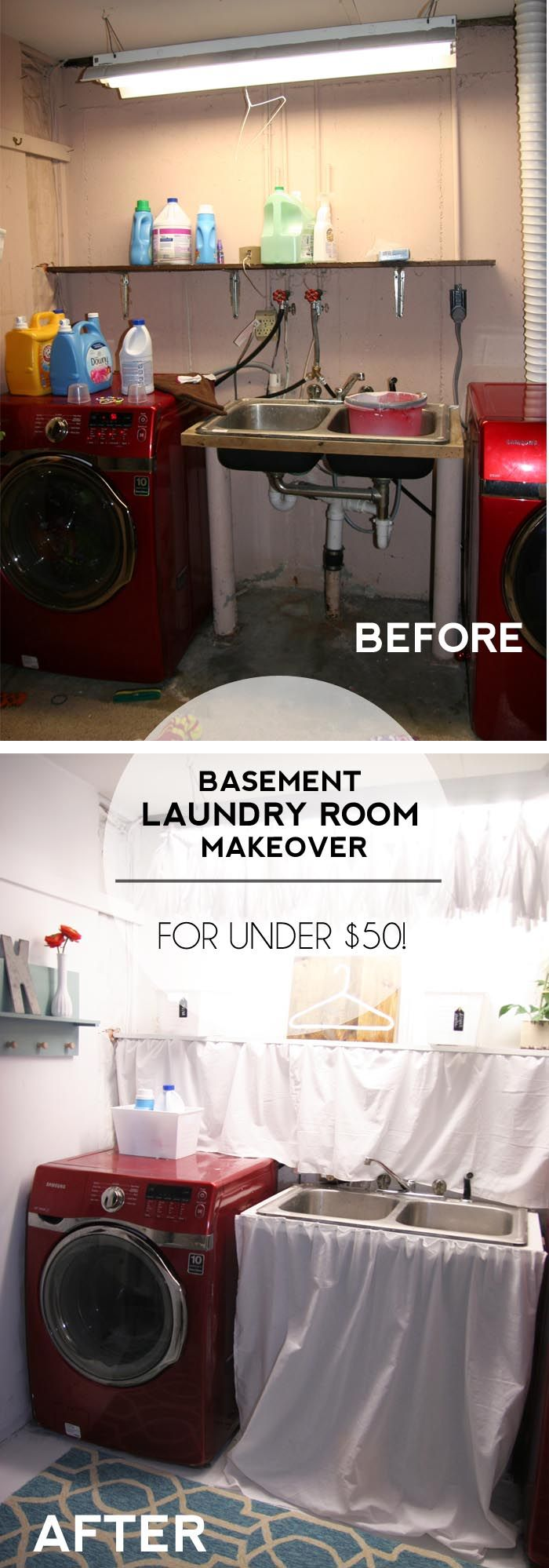 Basement Laundry Room Makeover! Transform your unfinished basement laundry room with a tiny budget using these laundry room ideas and DIY's!