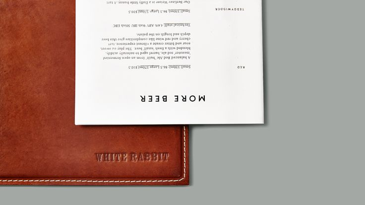 White Rabbit Brewery - Menu Design. Design by Foolscap Studio.