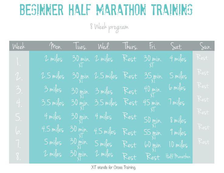 8 week half marathon training with printable.