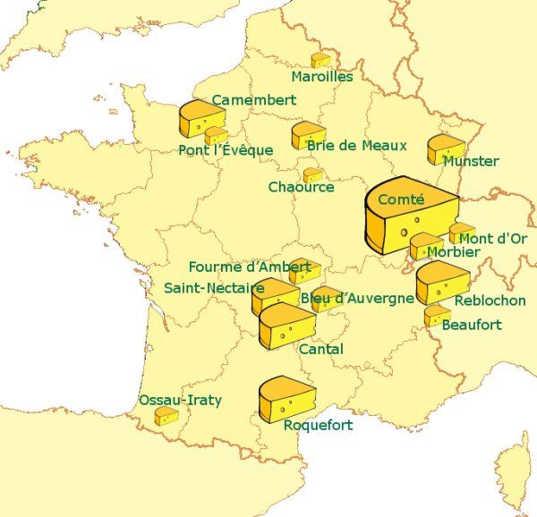 A map of major French cheeses; the size of the cheese symbol equates to the size of production