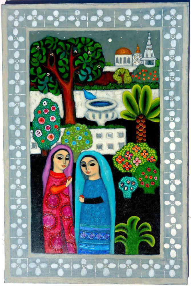 Original Folk Art Painting Darline Jellerson Charming ...