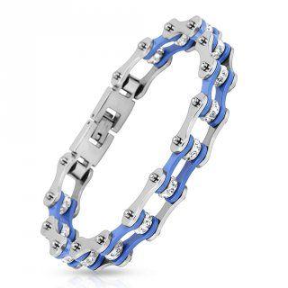 Bracelet homme bleu et argenté style chaine de vélo en acier à liens de pierres claires