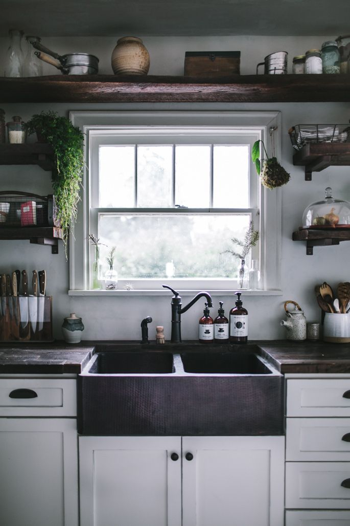 Modern Rustic Kitchen Makeover - Hand hammered copper kitchen sink