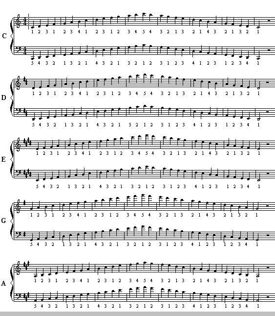Below are the Group I Major Scales. C G D A and E. The numbering system is based on your thumb being 1 and your pinky being 5. Octaves were chosen for readability, these can be done anywhere on the keyboard.