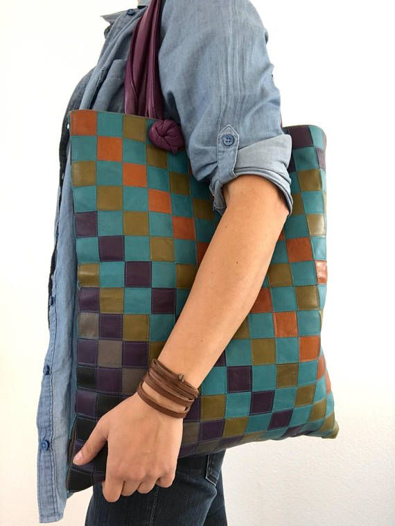 Hey, I found this really awesome Etsy listing at https://www.etsy.com/listing/501579102/multicolor-mosaic-leather-tote-bag
