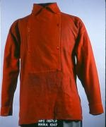 UNIFORM SHIRT WORN BY CPL. FRANCIS BROWNELL, 11TH N.Y. INFANTRY (FIRE ZOUAVES). RED FLANNEL FIREMAN'S SHIRT WITH BIB FRONT.