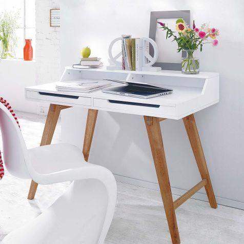 Sekretär, zwei Schubladen, schräge Beine, modern, Walnussbaumholz, MDF Katalogbild