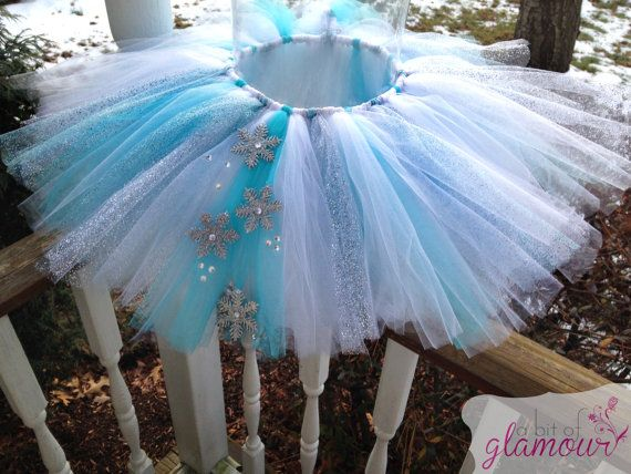 Blue Snowflake Tutu and Matching Bow by abitofglamour on Etsy