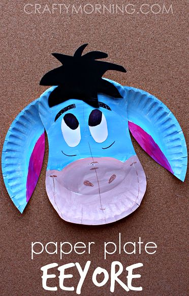 Paper Plate Eeyore (Donkey Craft for Kids) from Winnie the Pooh   CraftyMorning.com