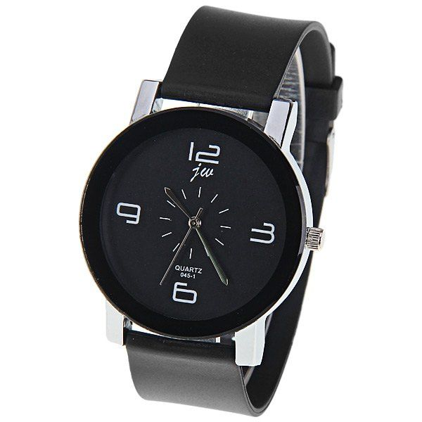 JW Quartz Watch with 4 Numbers Indicate Dial Rubber Watchband for Women - Black #women, #men, #hats, #watches, #belts