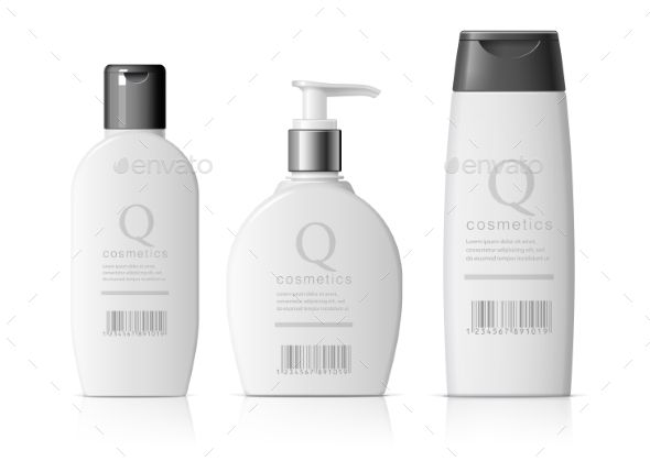 Set of Realistic Cosmetic Bottle