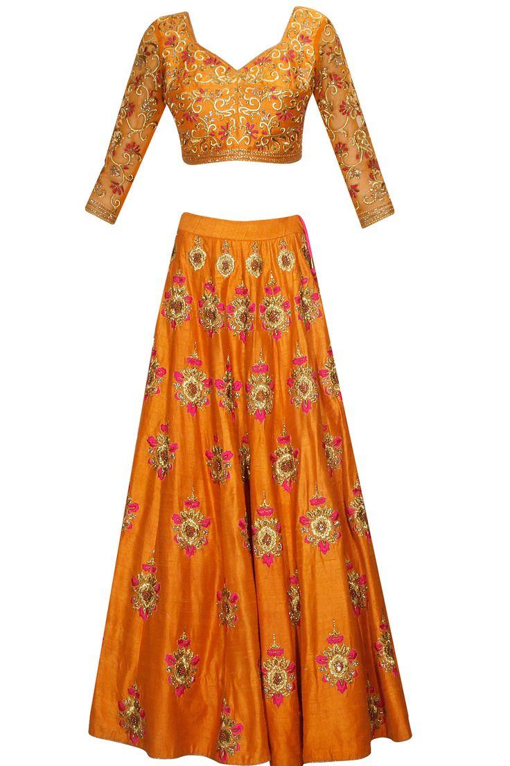 Orange bootis embroidered lehenga set available only at Pernia's Pop Up Shop.#perniaspopupshop #shopnow  #clothing#festive #newcollection #surendribyyogeshchaudhary #happyshopping