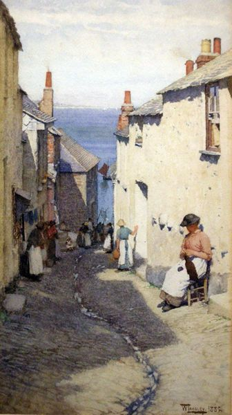 "Walter Langley, ""Newlyn Street overlooking Mount's Bay"""