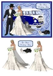 Wedding day card with 3D bride and Volkswagen camper on Craftsuprint - View Now!