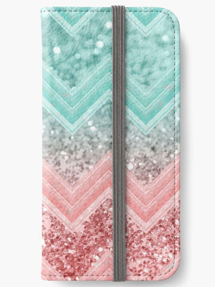 """Summer Vibes Glitter Chevron #1 #coral #mint #shiny #decor #art "" iPhone Wallets by anitabellajantz   Redbubble"