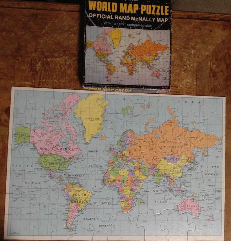 Rand McNally World Map Puzzle 83 Pieces Complete Selchow and Righter Vtg #SelchowRighter