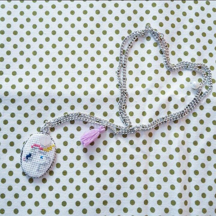 Cross stich unicorn necklace