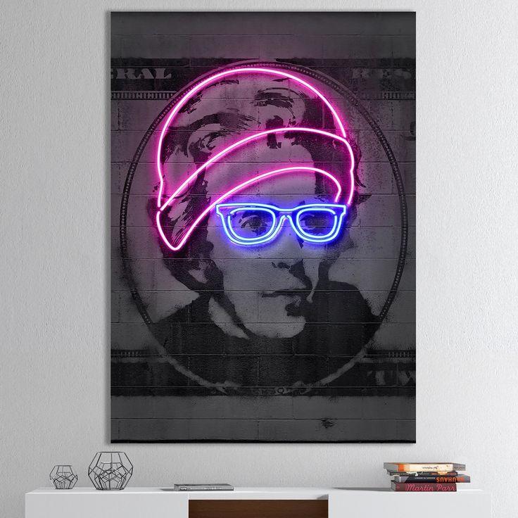 Designart 'Jackson Neon Dollar Bill' Modern & Contemporary Canvas Wall Art (12 in. wide x 20 in. high), Multicolor, DESIGN ART